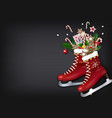 christmas skates with gifts on chalkboard vector image vector image
