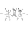 continuous one line drawing three jumping girls vector image