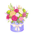 cute bouquet in festive oval box with pretty bow vector image vector image