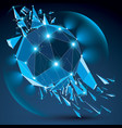 dimensional wireframe blue sparkling object with vector image vector image