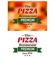 Emblem for pizza restaurant in red and green vector image