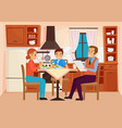 family people eat dinner at home kitchen interior vector image vector image