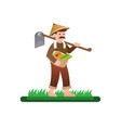 farmer carries wooden hoe flat character vector image vector image