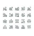 farming landscape line icons rural houses vector image