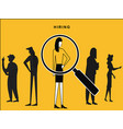 female hired with lens focus vector image