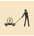 Flat black white man and dollar in cart vector image vector image