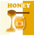 Glass jar full of honey and wooden stick