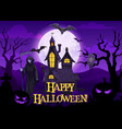 halloween ghosts bats pumpkin and death skeleton vector image vector image