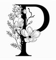 hand drawn floral uppercase p monogram