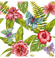 hand drawn tropical leaves flowers and butterfly vector image vector image