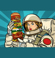 hungry woman astronaut with giant burger vector image vector image