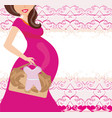 its a girl - pregnant woman card vector image