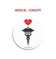 medical concept icon round - caduceus - flat vector image