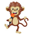 monkey with microphone on white background vector image vector image