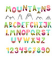 mountains font hand drawn english alphabet cute vector image vector image