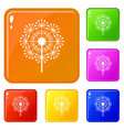 natural dandelion icons set color vector image vector image
