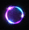 neon light circle background particles explosion vector image