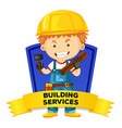Occupation wordcard with building services vector image vector image