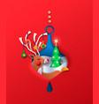papercut deer cartoon in christmas bauble isolated vector image