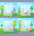 people spending leisure time in park vector image vector image