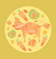 poster flyer with mosaic pig and vegetables vector image vector image