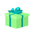 present square green box decorated big bow vector image vector image