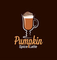 pumpkin spice latte logo design background vector image