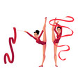 rhythmic gymnasts in leotards vertical leg split vector image
