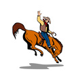 Rodeo Cowboy Riding Horse vector image vector image