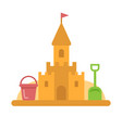 sandcastle with toys flat icon vector image