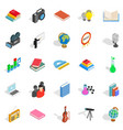 schoolbook icons set isometric style vector image vector image