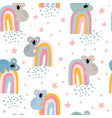 seamless childish pattern with cute funny koalas vector image vector image