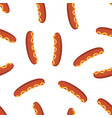 seamless pattern with sausages isolated on white vector image