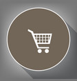 shopping cart sign white icon on brown vector image vector image