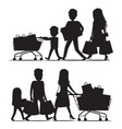 shopping family silhouettes with packs on white vector image