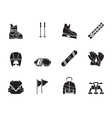 Silhouette ski and snowboard equipment icons vector image vector image