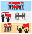silhouettes of strike people holds color placards vector image