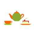 teapot with mug and plate served cake with cherry vector image vector image