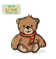 teddy bear with red scarf isolated on a vector image vector image