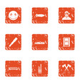 town planning icons set grunge style vector image