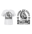 tshirt print with horse stallion biker club mascot vector image