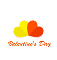 two paper hearts on a white background vector image vector image