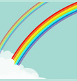 two rainbows in sky fluffy cloud in corner vector image vector image