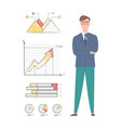 worker and set chart and diagram report vector image vector image