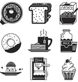 Breakfast black icons vector image