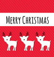 Merry Christmas Card with Reindeers Holiday vector image