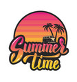 summer timeevening sun and palm trees hand vector image