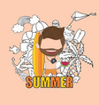 a happy face man with beard summer symbols and vector image
