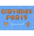 Birthday party invitation Gingerbread font vector image vector image