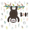 boo cute print with a sloth hanging from tree vector image vector image